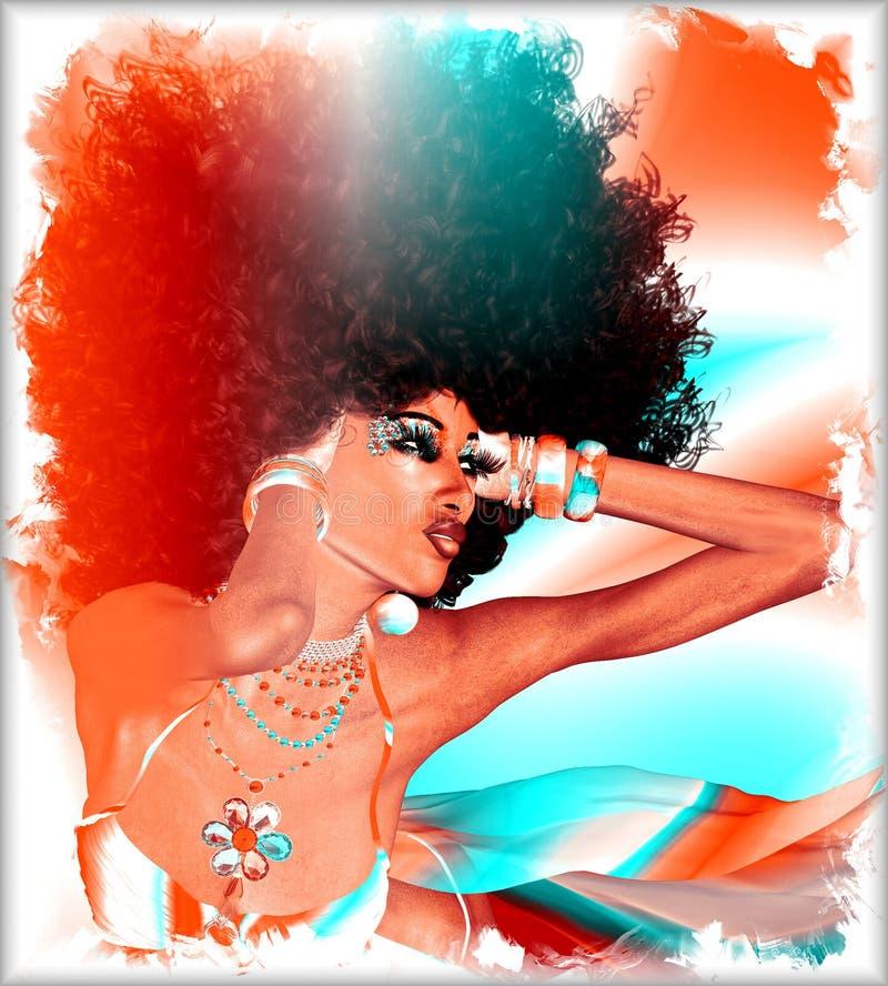 Penteado retro fabuloso do Afro, mulher africana bonita foto de stock
