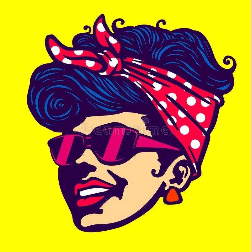 Penteado rockabilly dos óculos de sol frescos retros da cara da menina ilustração stock