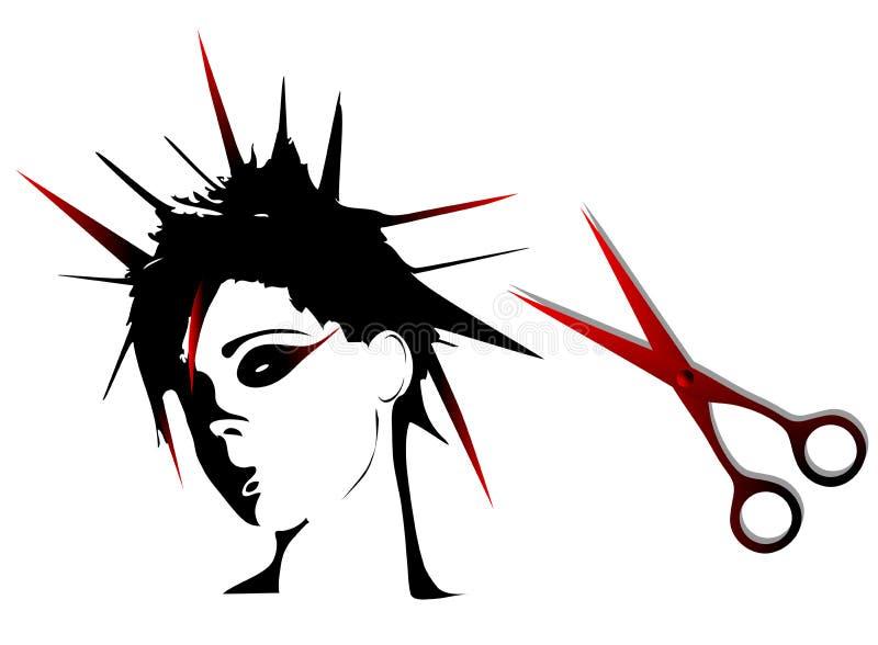 Penteados do punk da mulher ilustração do vetor