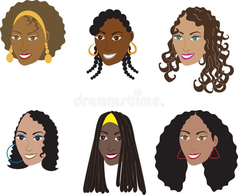 Penteados pretos naturais 1 ilustração royalty free