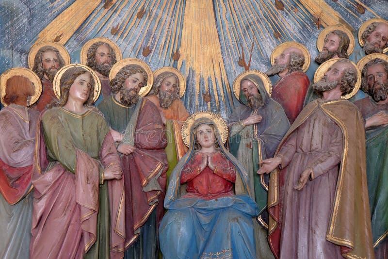 Pentecost,圣灵的下降 免版税库存照片