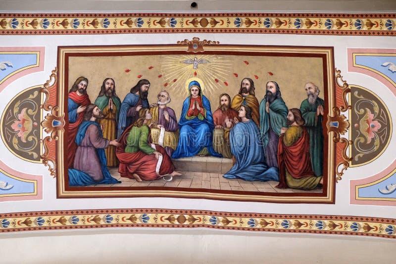 Pentecost, η κάθοδος του ιερού πνεύματος στοκ φωτογραφία