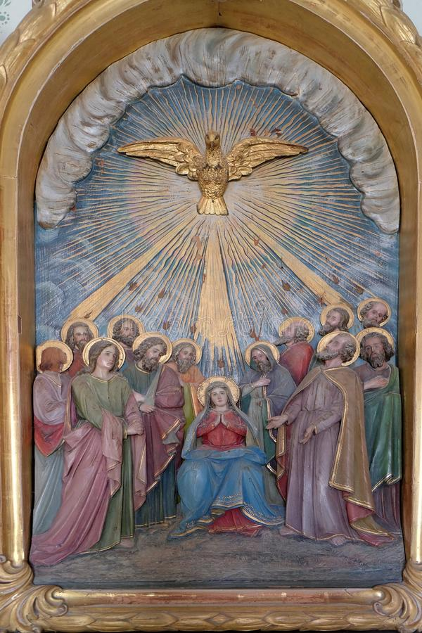 Pentecost, η κάθοδος του ιερού πνεύματος στοκ εικόνες με δικαίωμα ελεύθερης χρήσης