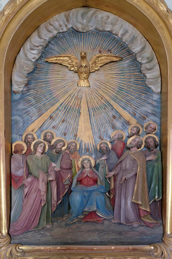 Pentecost, the descent of the Holy Spirit stock photo