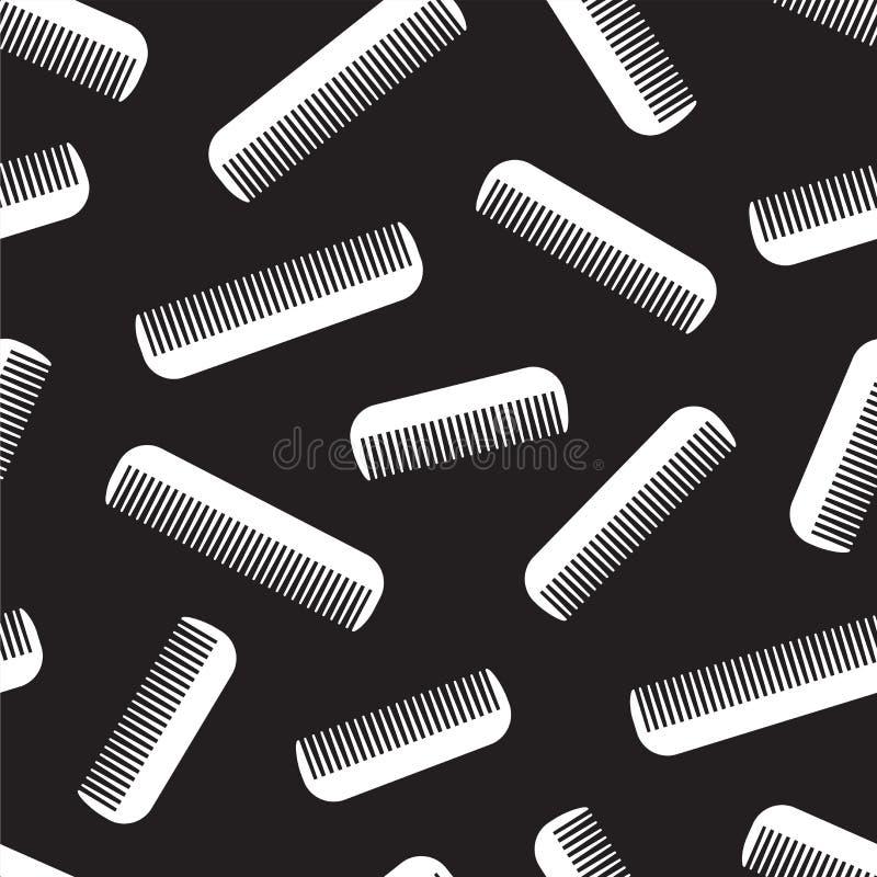 Penteie o preto isolado Pattern sem emenda do fundo do papel de parede do barbeiro do vetor do cabelo ilustração stock