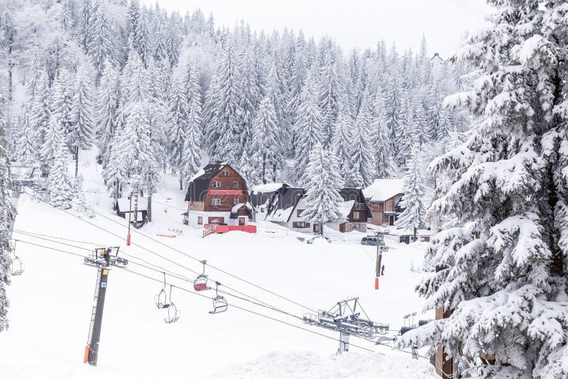 Pentes de ski, montagne Jahorina photographie stock