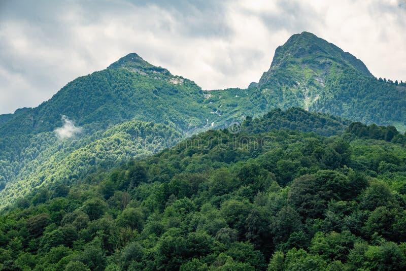Pentes vertes et crêtes rocheuses de hautes montagnes dans le jour d'été nuageux photo stock