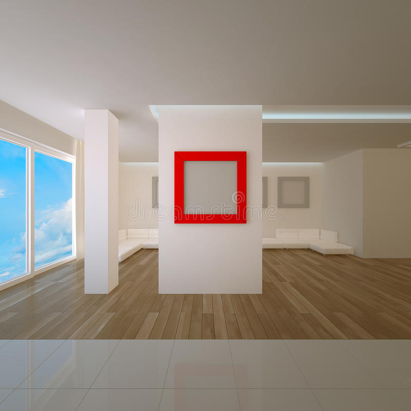 Penthausinnenraum mit rotem Vorstand stock abbildung