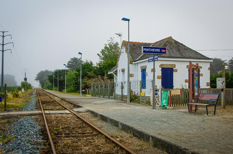 Penthievre, France - June 26, 2012. Train stop in small village in Bretagne royalty free stock photography