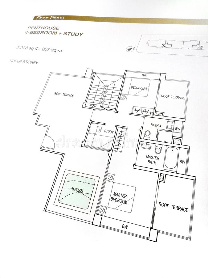 Penthouse Floor Plans Stock Photo Image Of Drawings Contemporary 9634120