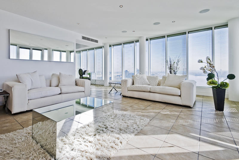 Penthouse living room stock photos
