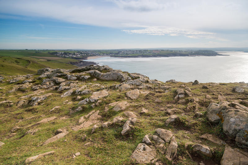 Pentire point. Nears stepper point and polzeath / padstow stock image