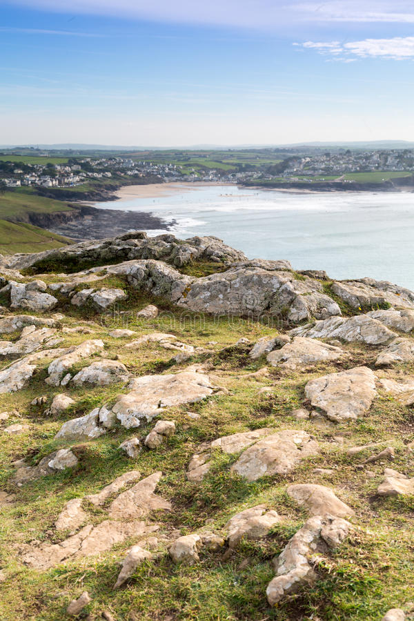 Pentire point. Nears stepper point and polzeath / padstow stock photo