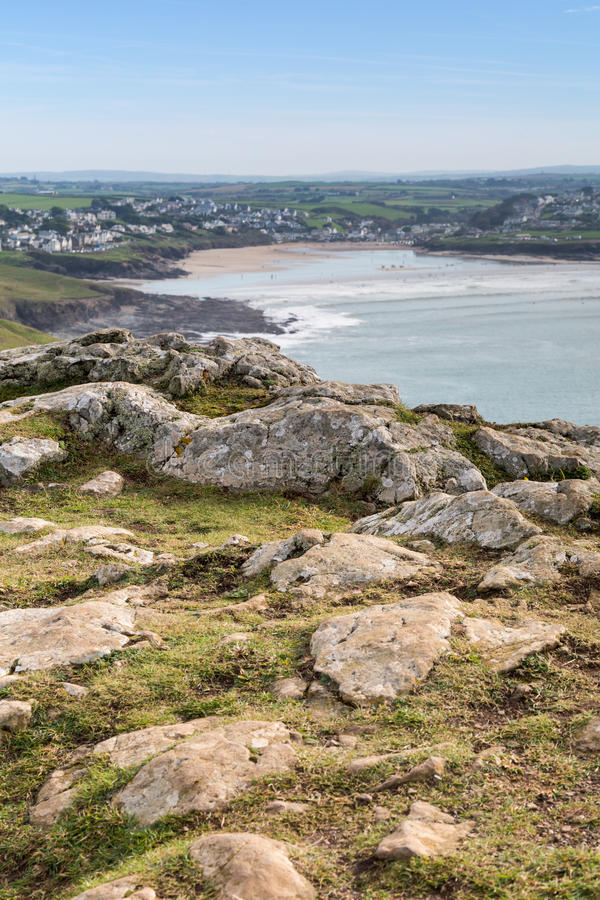 Pentire point. Nears stepper point and polzeath / padstow stock photos