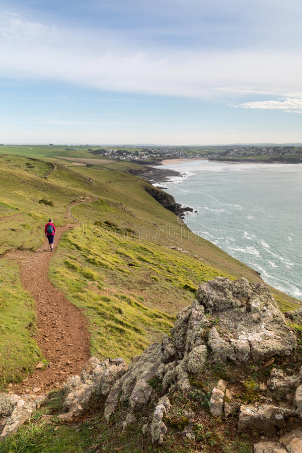 Pentire point. Nears stepper point and polzeath / padstow with hiker stock photos