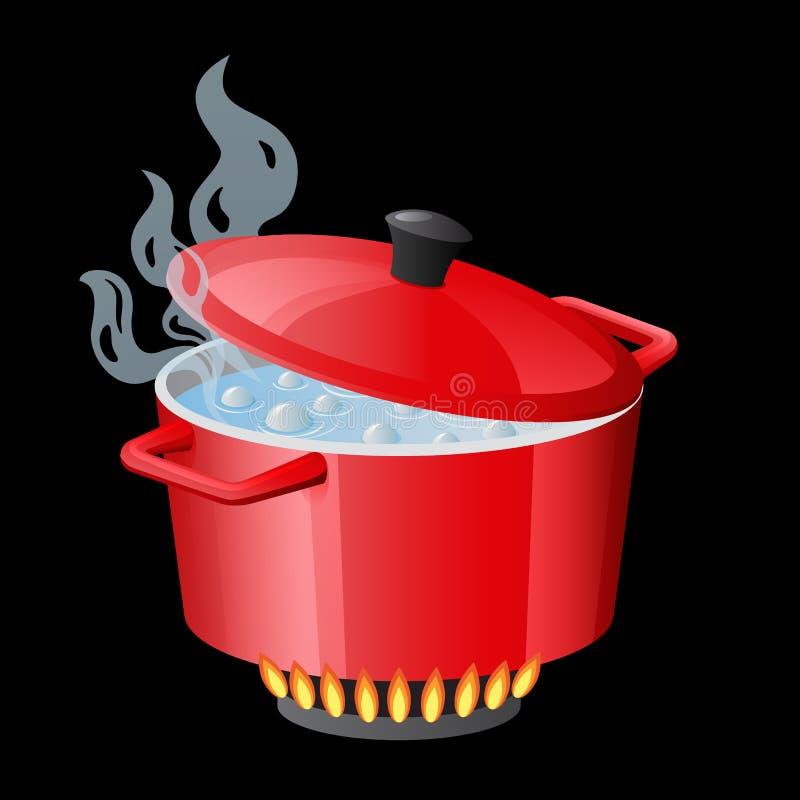 Pentola, casseruola, vaso, casseruola, fornello, stewpan rossi con acqua bollente ed il vettore chiuso del coperchio della pentol illustrazione vettoriale