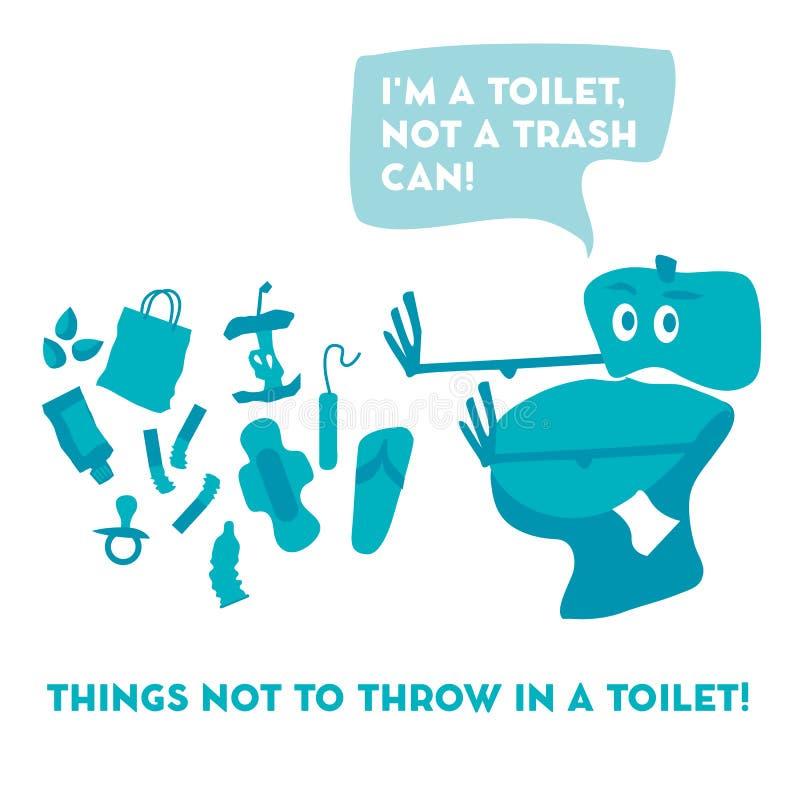 Pentola ed immondizia della toilette illustrazione di stock