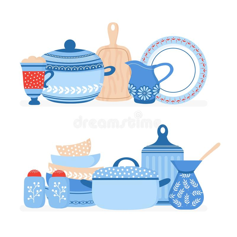 Pentole del fumetto Terrecotte della cucina, cucinanti l'insieme isolato vettore degli strumenti illustrazione di stock