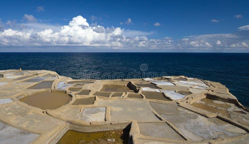 Pentole del sale dal mare, Malta immagine stock libera da diritti