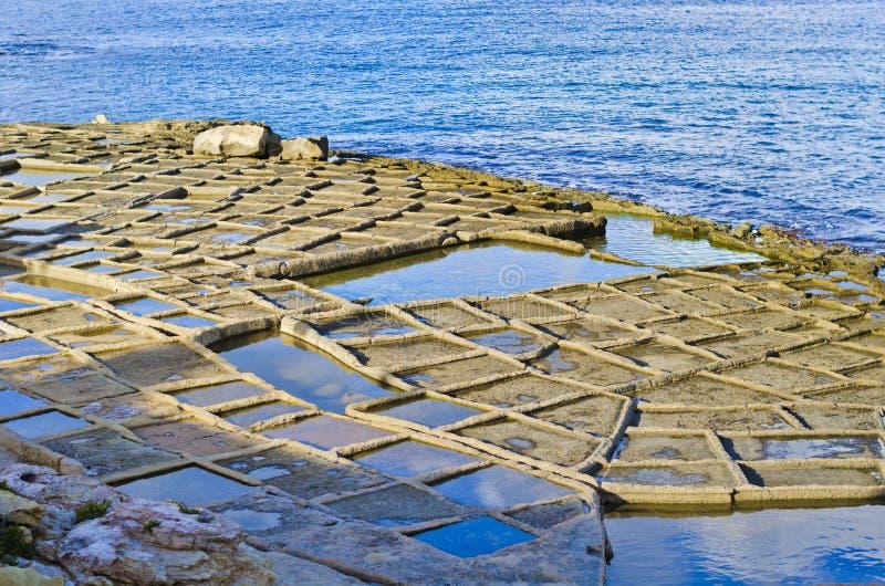 Pentole del sale, Malta fotografie stock