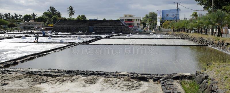 Pentole del sale del Tamarin mauritius fotografia stock
