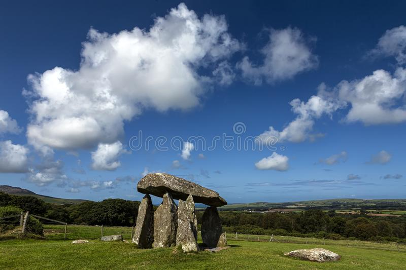 Pentre Ifan burial chamber on the Preseli Mountains in Pembrokeshire, the best known prehistoric monument in Wales stock photos