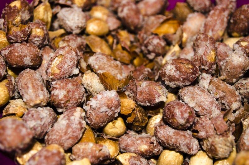 Penuts盐溶了并且rosted鲜美 库存图片