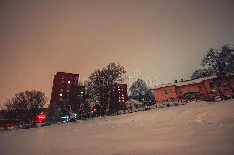 Penza. Night city landscape. Penza of the Russian Federation stock photography