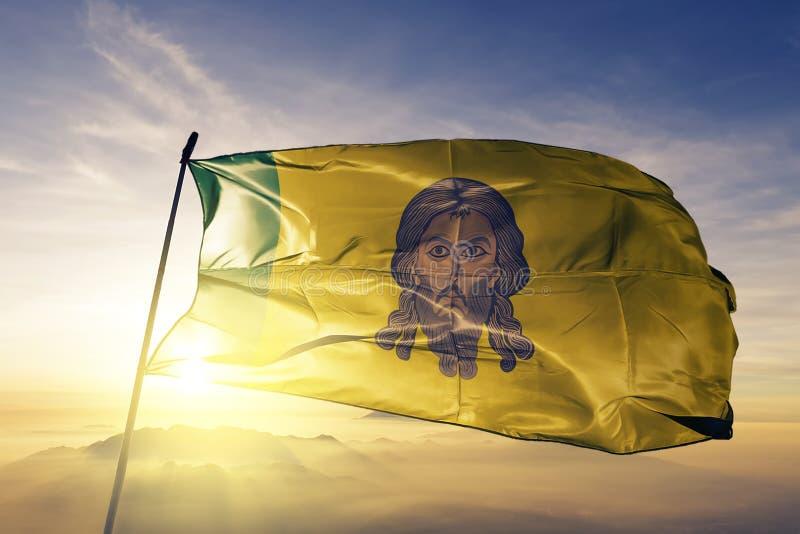 Penza Oblast Rosja flaga tkaniny tekstylny sukienny falowanie na wierzchołku royalty ilustracja