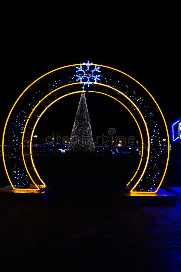 Penza zero glowing numbers neon. Yellow new year festive square area coloured lights city decorations city holiday stock photography
