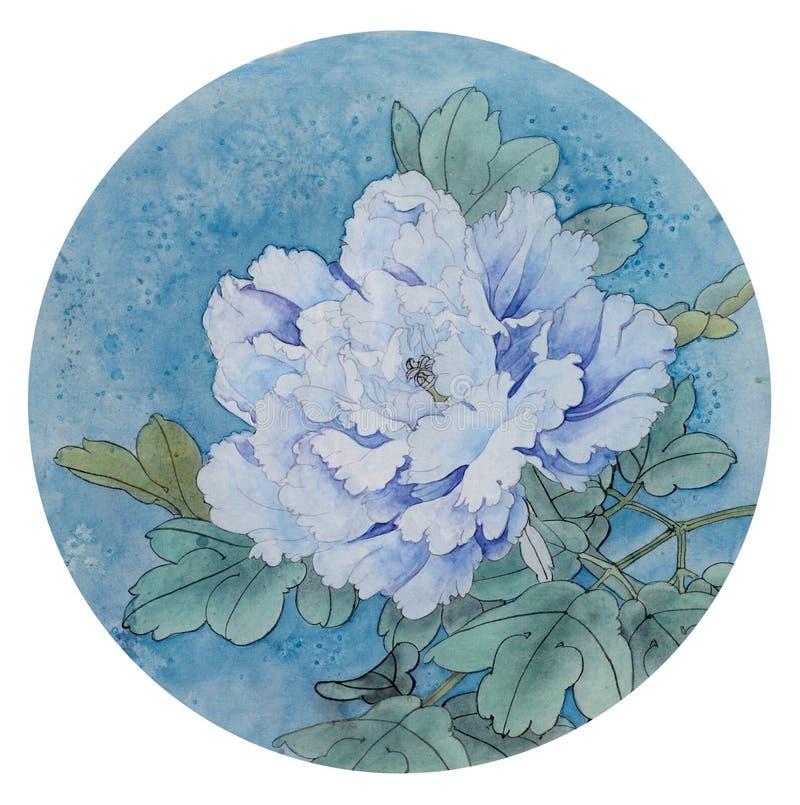 Peonía blanca en un fondo azul libre illustration