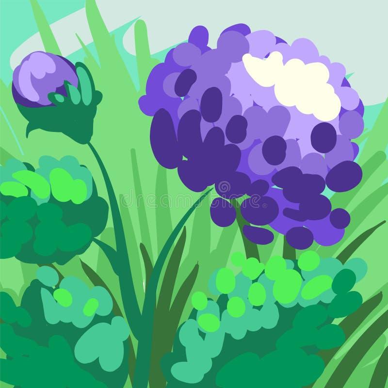 Peonía estilizada violeta a mano en el fondo verde para su diseño stock de ilustración