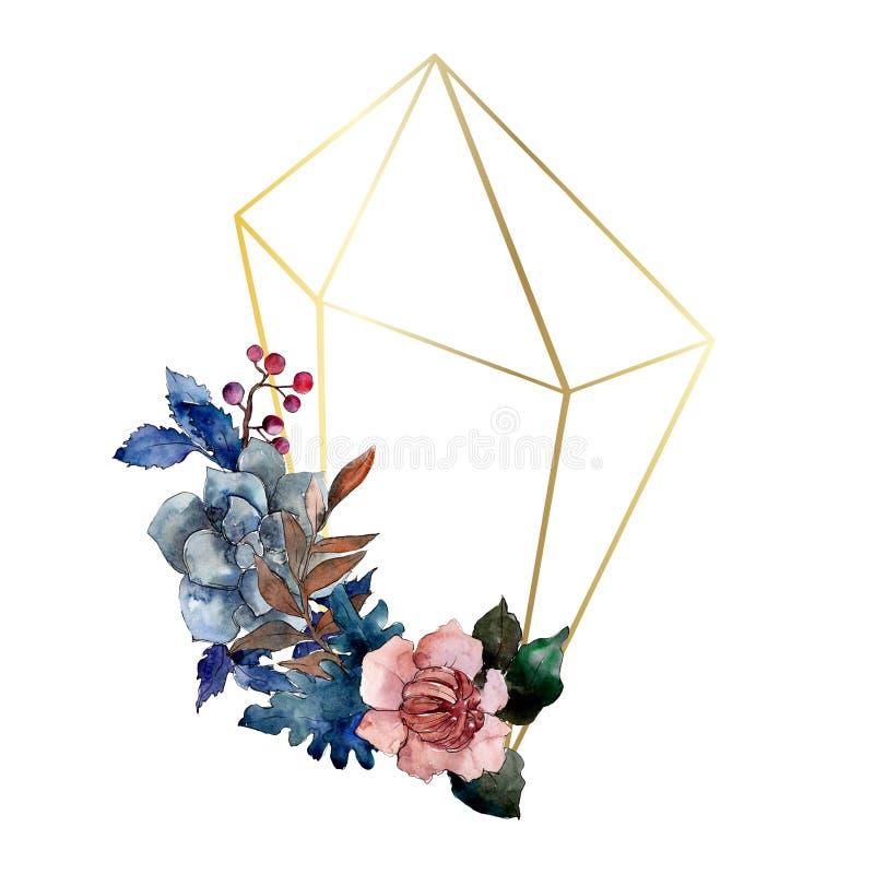 Peonía y flor floral del ramo suculento Sistema del ejemplo del fondo de la acuarela Cuadrado del ornamento de la frontera del ca ilustración del vector