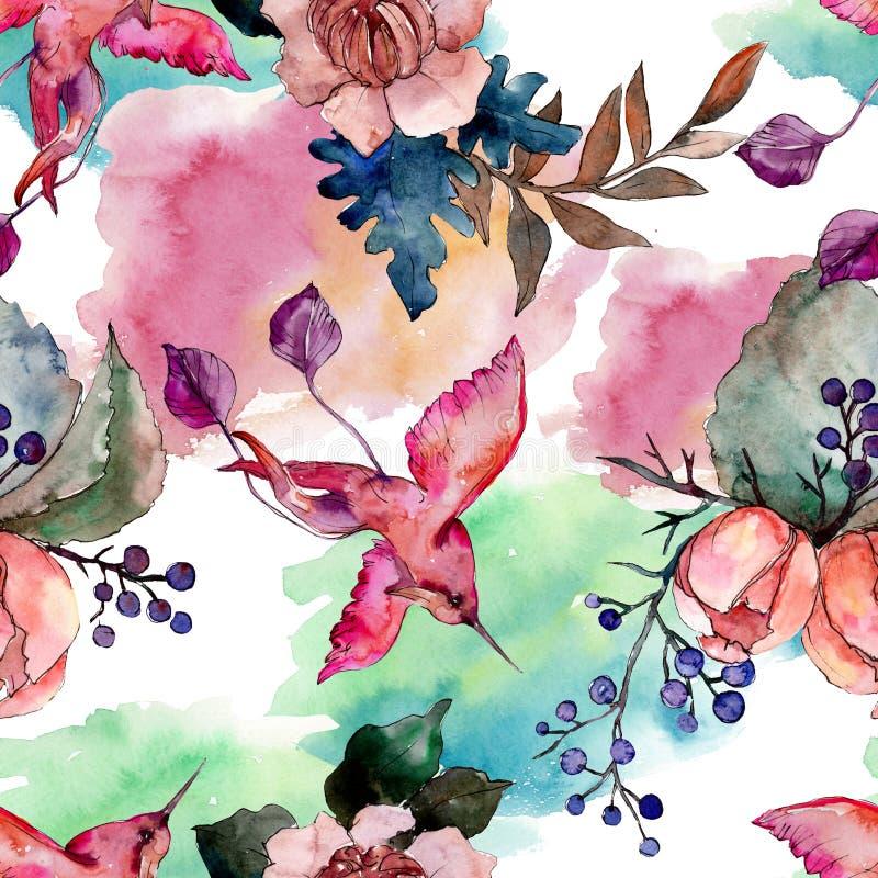 Peonía y flor floral del ramo suculento Sistema del ejemplo del fondo de la acuarela Modelo inconsútil del fondo ilustración del vector