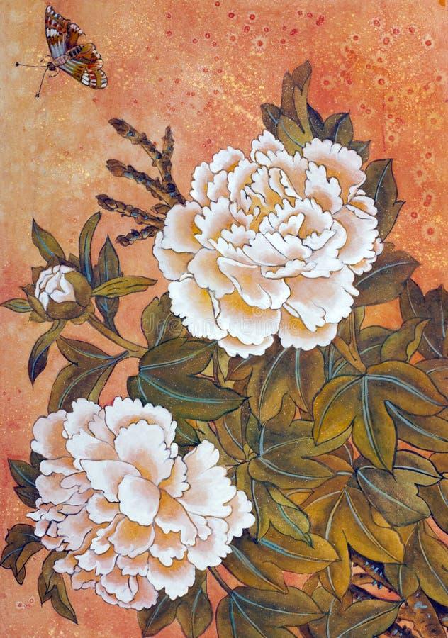 Peonía y mariposa blancas libre illustration