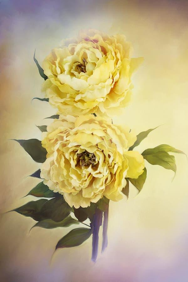 Peonías amarillas libre illustration