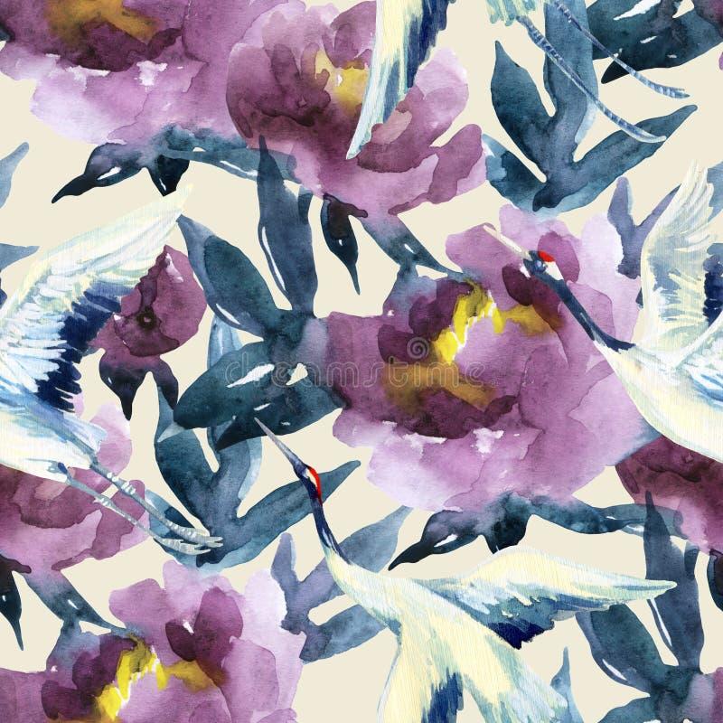 Peonías de la acuarela y pájaros pintados a mano de la grúa ilustración del vector