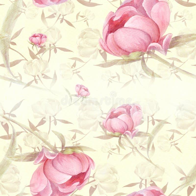 Peonías - flores y hojas Composición decorativa en un fondo de la acuarela Adornos florales Modelo inconsútil ilustración del vector