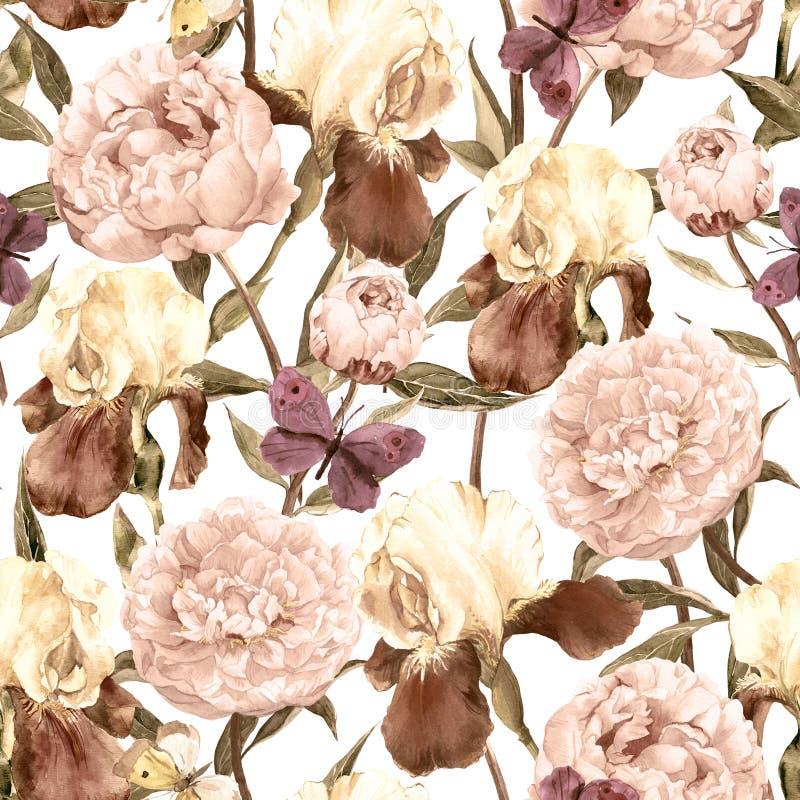Peonías, iris y mariposas Fondo inconsútil retro Modelo floral watercolor libre illustration