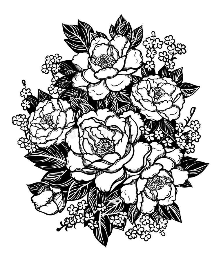 Peonías o rosas Ramo floral del vintage Estilo oriental Arte del ejemplo del vector Para las materias textiles del diseño, papel  libre illustration