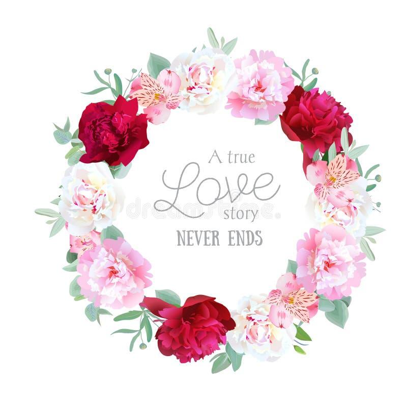 Peonías rojas, blancas y rosadas románticas, lirio del alstroemeria stock de ilustración