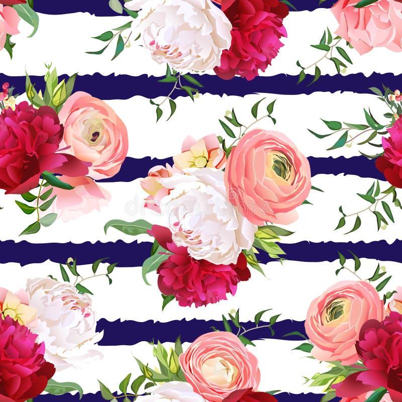 Peonías rojas y blancas de Borgoña, ranúnculo, modelo inconsútil del vector de la rosa libre illustration