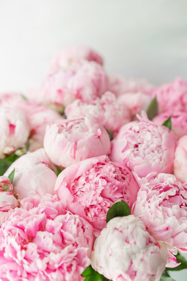 Peonías rosadas Composición floral, luz del día wallpaper Flores preciosas en el florero de cristal Ramo hermoso imagen de archivo