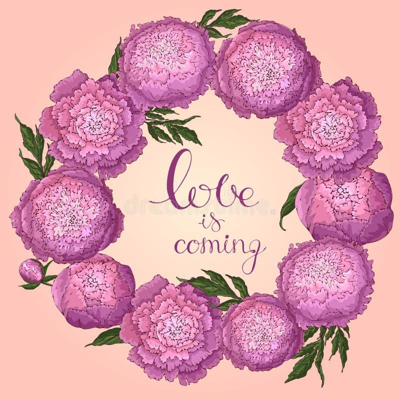 Peon?as del vector Marco redondo de las flores de la rosado-lila Guirnalda de la flor en un fondo rosa claro Plantilla para el di libre illustration