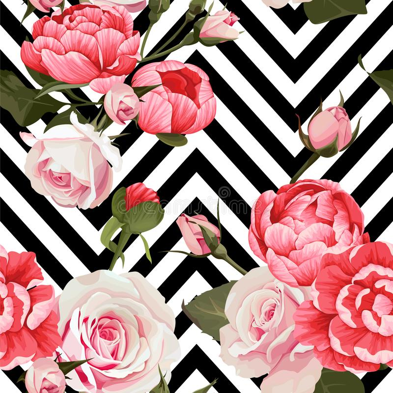 Peoni i róż wektorowa bezszwowa deseniowa kwiecista tekstura na czarny i biały szewronu tle ilustracja wektor