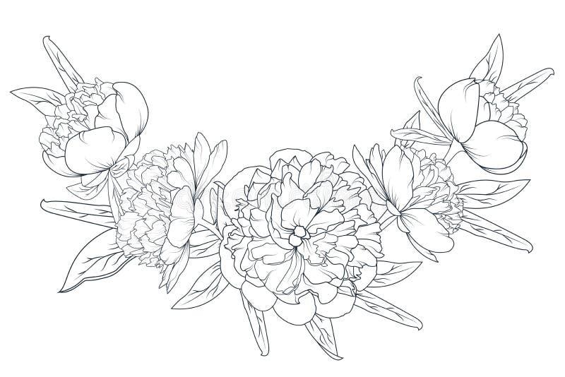Peoni ulistnienia girlandy czerni różany laurowy biel royalty ilustracja