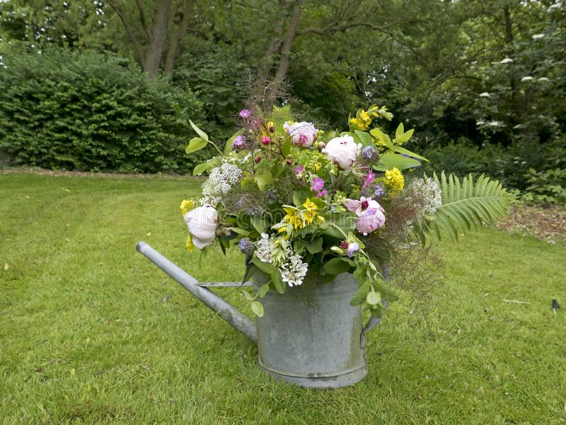 Peonia bukiet w ogródzie obraz stock