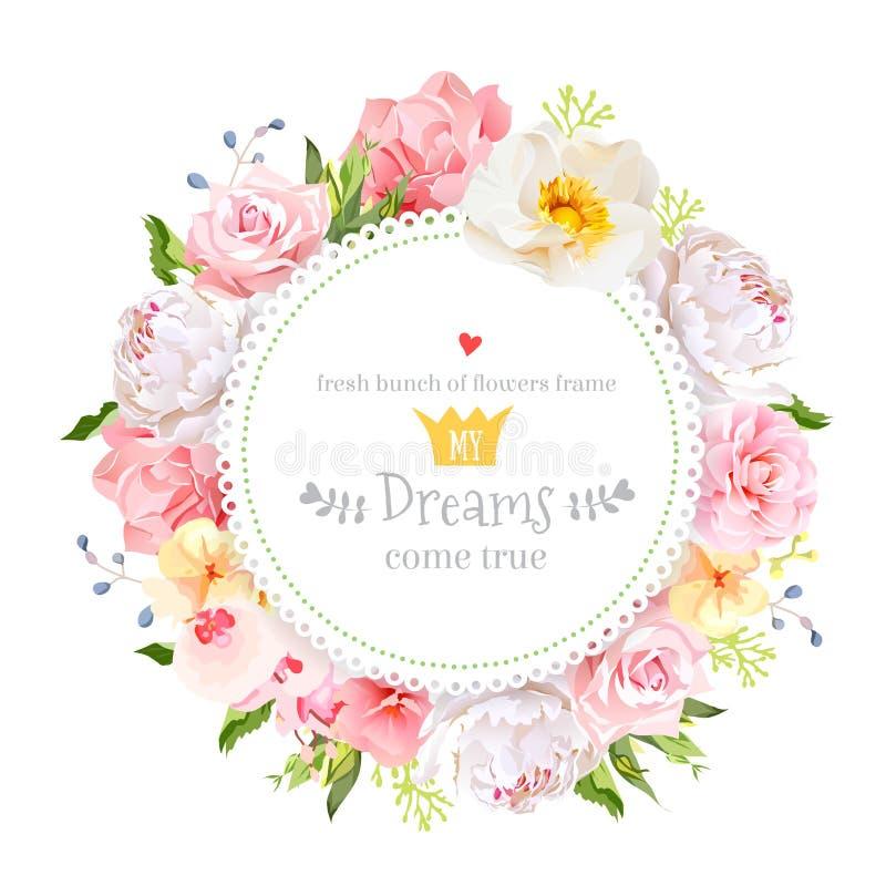 Peonia, dzika wzrastał, orchidea, goździk, kamelia, hortensja, błękitne jagody i zielonego liścia wektorowego projekta round kart ilustracji