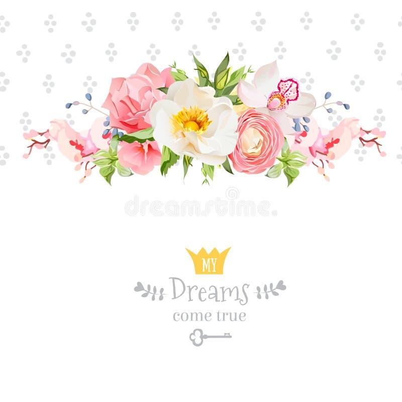 Peonia, dzika wzrastał, orchidea, goździk, ranunculus, hortensja, błękitne jagody i zielonych liści projekta wektorowa karta, ilustracja wektor