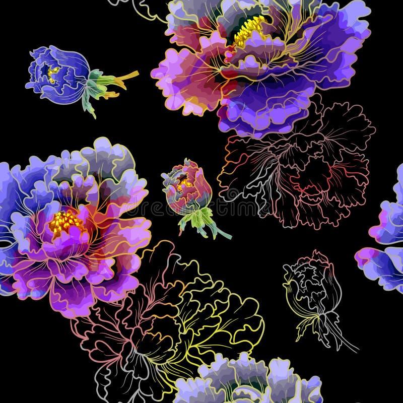 Peonia kwiat Japoński styl Kolorowy deseniowy bezszwowy tło royalty ilustracja